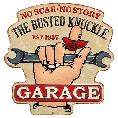 Busted Knuckle Garage Embossed Tin Sign