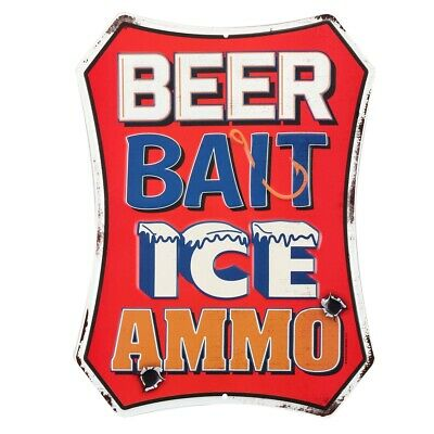 Beer Bait Ice Ammo Embossed Tin Sign