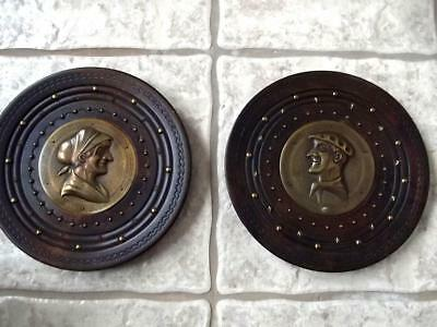 Vintage French Art Deco Embossed Bronze Profiles Carved Wood Wall Plates Signed