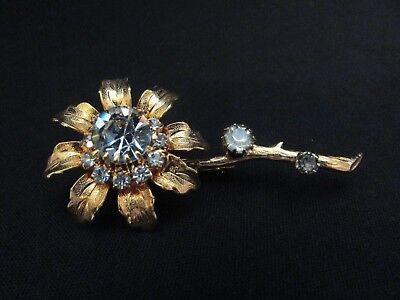 Vintage Flower Power Rhinestones Brooch~Pin Textured Gold Tone Beautiful! 2 3/4""