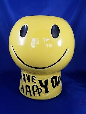 McCoy Pottery USA Have A Happy Day Smiley Face Cookie Jar No Lid EUC