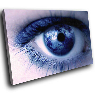 ZAB049 Blue Earth Eye Map Modern Canvas Abstract Home Wall Art Picture Prints