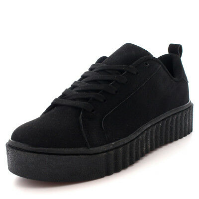 8ec06387ff26 Womens Lace Up Shoes Creepers Pumps Chunky Plimsolls Platform Sneakers US  5-12