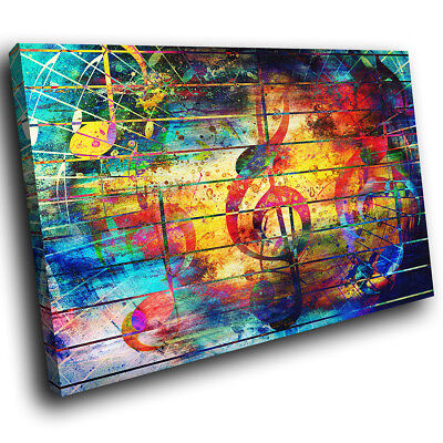 ZAB1725 Colourful Music Cool Modern Canvas Abstract Wall Art Picture Prints