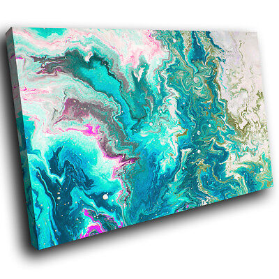 ZAB704 Blue White Funky Cool Modern Canvas Abstract Wall Art Picture Prints