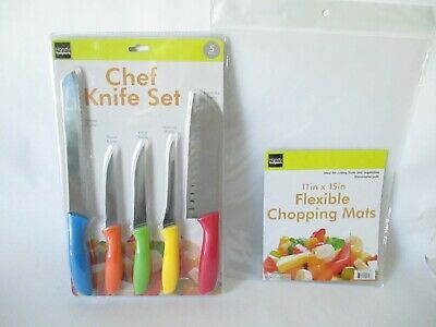 5 Kitchen Knife Set Multi Color with 2 Flexible Chopping Mats 11 in x 15 in