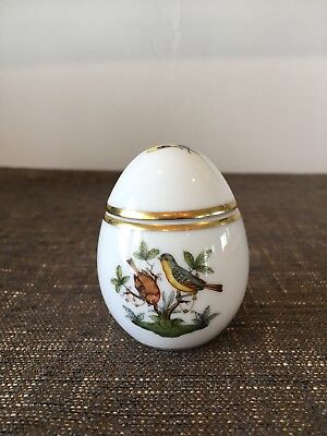 "Herend Porcelain Rothschild Upright 2.5"" Tall  Egg Shaped Covered Box"