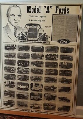 "Vintage Poster Size Ford Theme Art Print Ad ~ For Model ""A "" Fords"
