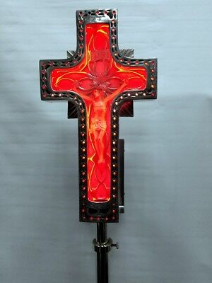 Vtg Art Deco Rare Antique Church Funeral Mortuary Crucifix Neon Lighted Wood Box