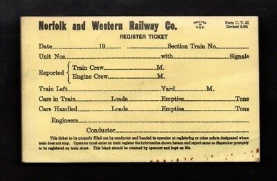 1964 Norfolk and Western Railway Co Register Ticket Pad For Conductors   *R382