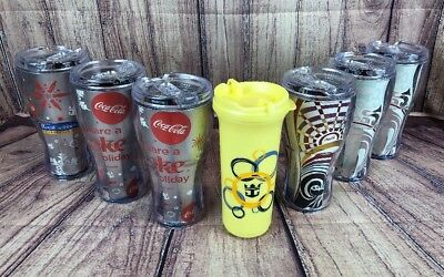 Lot of 7 Coca-Cola Royal Caribbean Plastic Insulated Cups Tumblers Labadoozie!