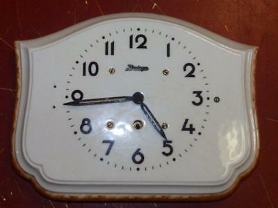 Nice Old Kieninger Kitchen Clock With Porcelain Dial Feather Windup Movement