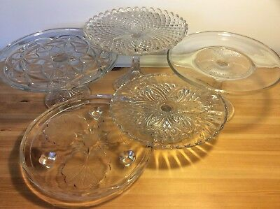 Vintage Pressed Glass Cake Stands Plates x 5 Collection Chester CH3