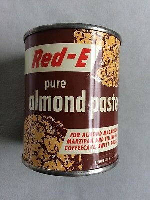 Old vintage RED-E ALMOND PASTE can (with product still inside), for display only