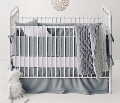 Restoration Hardware Baby & Child Cloud Gray Wool Blend Tiered Crib Skirt EUC