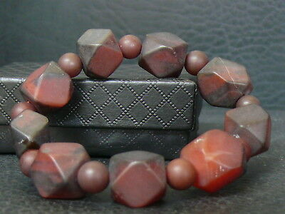 (eT003) Tibet: Old  Beautiful Natural Hand Carved Agate  Beads   Bracelet