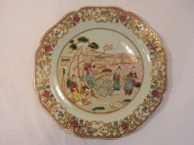Qing Middle Fencai Story Women Plate