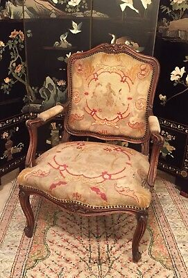 Antique French Needlepoint Carved Wood Chair Vintage Wooden Seat Old Louis Style