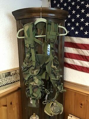 US ARMY Military Woodland Camo ENHANCED TACTICAL LOAD BEARING VEST With Canteens