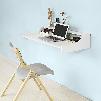 Wall Mounted Computer Desk Floating White Table Space Saving Storage Work Shelf