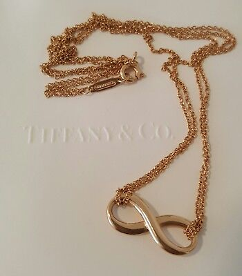 """Tiffany & Co 18ct Rose Gold Tiffany Infinity Pendant/Necklace 16"""" Chain"""