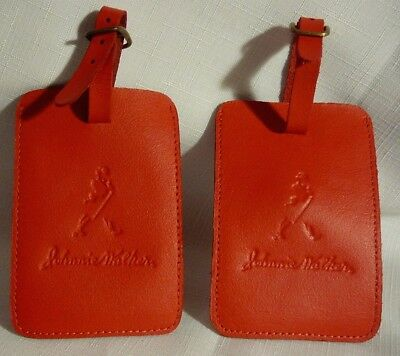 Two Johnnie Walker Red Luggage Bag Tags Travel Embossed Logo Buckle Closure