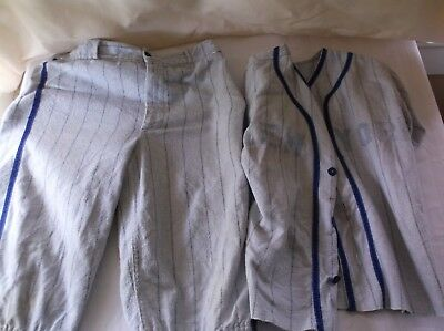 Vintage 50's-60's Childrens Boys Gray Flannel Cotton Baseball Uniform