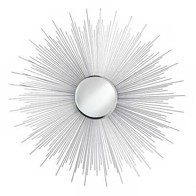85ca005bb399 New Silver Rays Mirror Wall Round Sun Home Decor Reflection Beveled  Sunburst Art