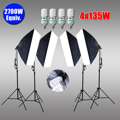 4 Soft Boxes Photography Studio Softbox Lighting Continuous Light Stand Kit AU