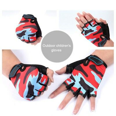 Kids Cycling Half Finger Gloves Boys Girls MTB BMX Bike Bicycle Scooter Mittens