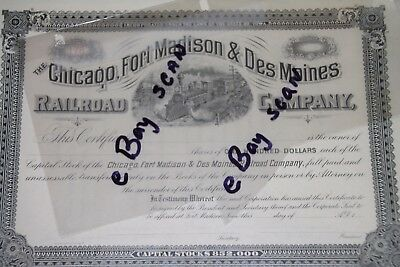 CHICAGO, FORT MADISON &  DES MOINES RAILROAD Company Stock Certificate Vintage