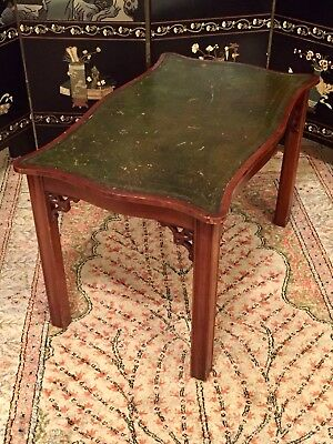 Antique Chinese Leather Top Carved Wood End Table Old Wooden Furniture Oriental