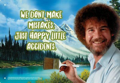 """Bob Ross """"Happy Little Accidents"""" 8"""" x 11.5"""" Tin Sign"""