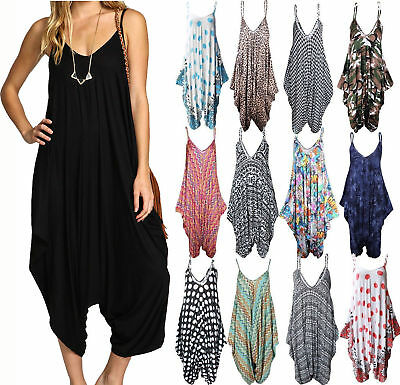 New Womens Ladies Cami Strappy Baggy Lagenlook Jumpsuit Harem Playsuit Dress Top