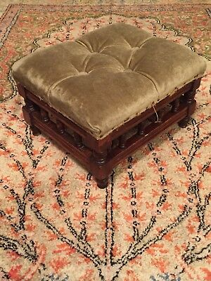 ANTIQUE CARVED WOOD CHAIR FOOT STOOL OTTOMAN SEAT OLD VICTORIAN 19th CENTURY