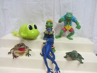 Lot Of 6 Frogs Wind Up Swimmer Ceramic Plastic Rubber Action Figures