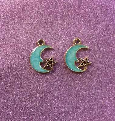 2 Gold Plated with Green/Blue Enamel Half Moon with star charms