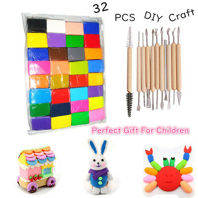 32PCS Craft Oven Bake Polymer Clay Air Dry with 11pcs Carving Tools Polymer Clay