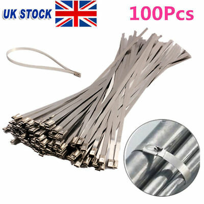 100 X Stainless Steel Metal Cable Ties 4.6X300mm Zip Tie Coated Wraps Exhaust UK