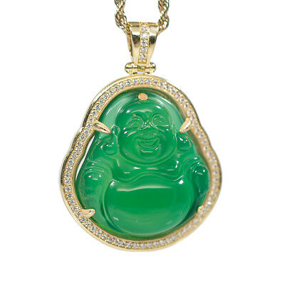 Mens 14k Gold Iced Hip Hop Green Jade Diamond Buddha Bling Pendant Necklace