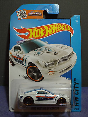 2014 Hot Wheels FORD MUSTANG GT CONCEPT in White. HW City Long card. 49/250.