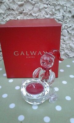 Galway Living Crystal CristmasTeddy Bear Tea light Candle Holder New in Box H4""