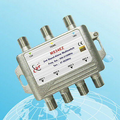KF_ 3x4 FTA TV LNB Cascade Satellite Multiswitch Splitter for DVB-S2 DVB-T2 Ca