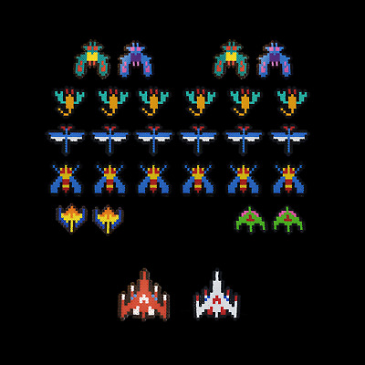 Galaga Ship Pixel Art 8-Bit Perler Beads Magnet Ornament Arcade Retro New