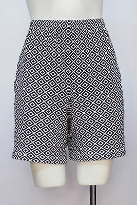 Vintage Bechamel Black Geometric Print High Wasted Cotton Shorts Size Small