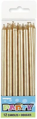 Tall Metallic Gold Candles 12x Birthday Wedding Baby Shower Party Cake Topper
