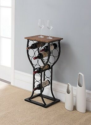 Black Metal Wine Rack Vintage Floor Free Standing Bottle Storage Kitchen Holder