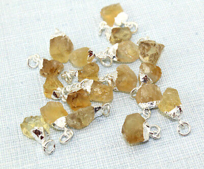 Fashion Raw Citrine Quartz Silver Gold Rose Gold Plated Charm Wedding Pendant