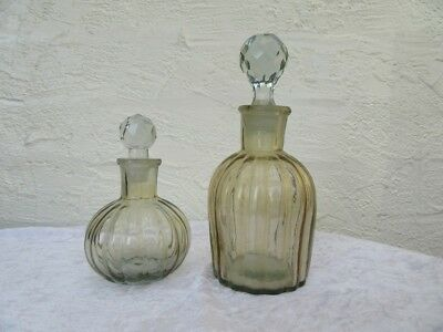 Vintage - Depression Glass Bottles x 2 - With Stoppers - Smokey Grey Glass