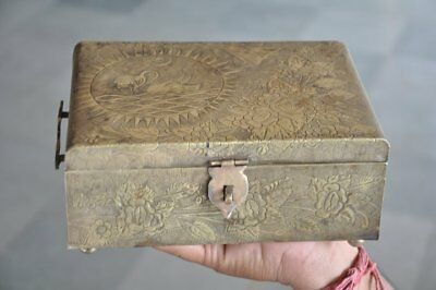 Old Brass Handcrafted Flowers & Cranes Engraved 6 Compartment Betel Nut Box